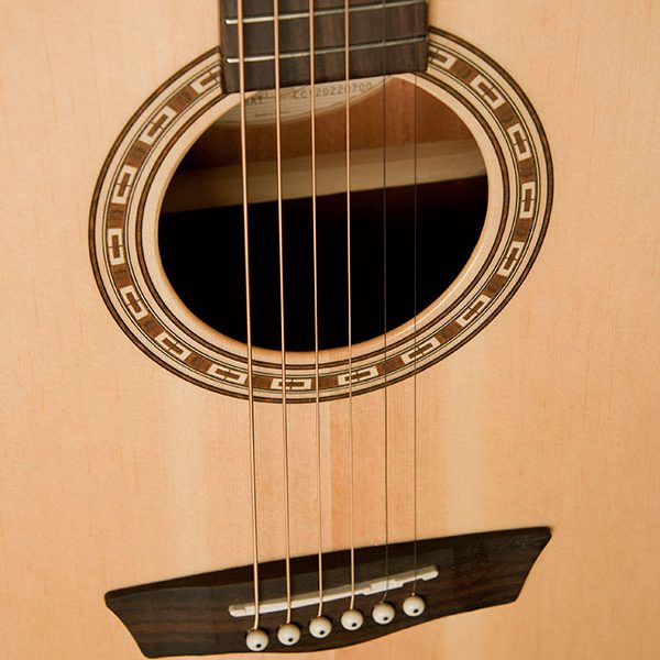 WG7SCE close up of the sound hole roseette and bridge