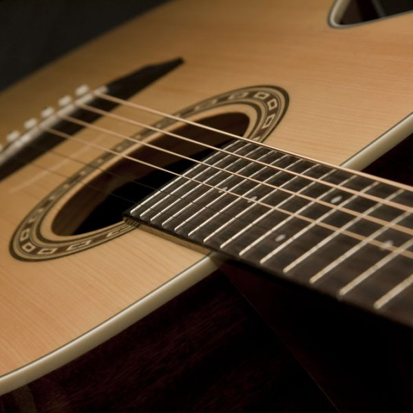 WG7S angled image of the fretboard and sound hole close up